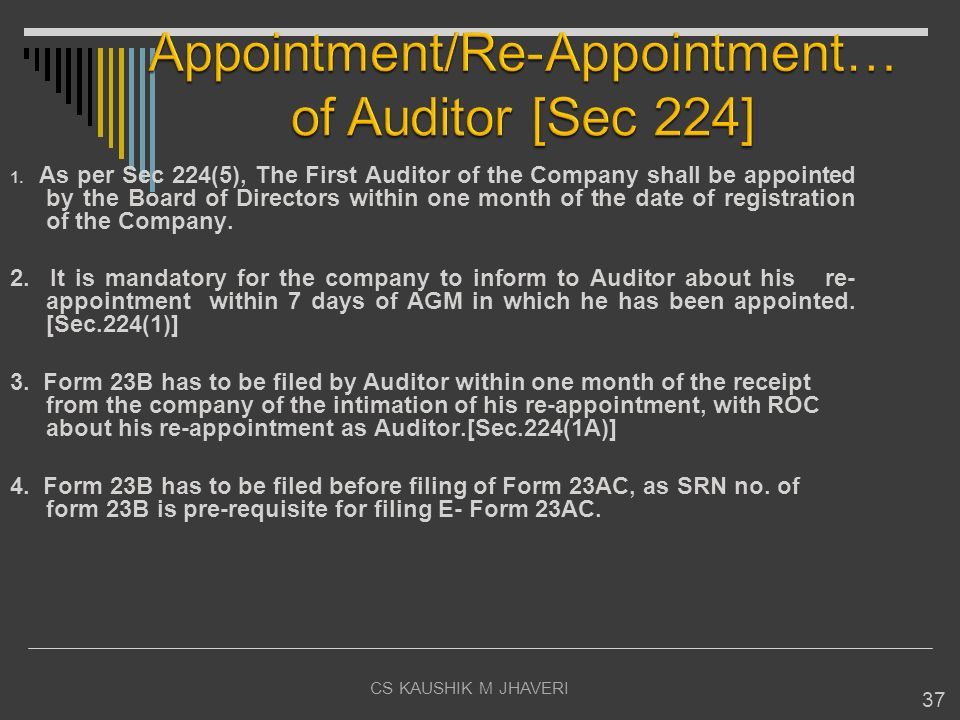 Appointment/Re-Appointment… of Auditor [Sec 224]